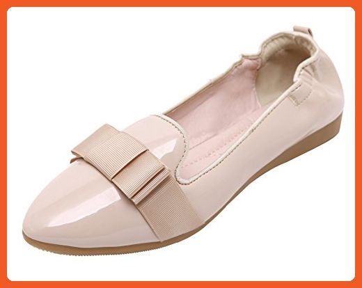 DQQ Mujeres del Bowknot Pointy Slip-On Flat Shoes, Color Beige, Talla 38