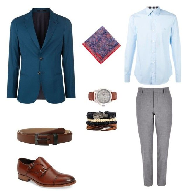 """Лук#2"" by hyzirt on Polyvore featuring River Island, Burberry, Paul Smith, Turnbull & Asser, Ted Baker, To Boot New York, men's fashion и menswear"
