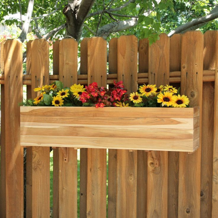 Fence flower box garden pinterest teak planters and for Fence hanging flower pots