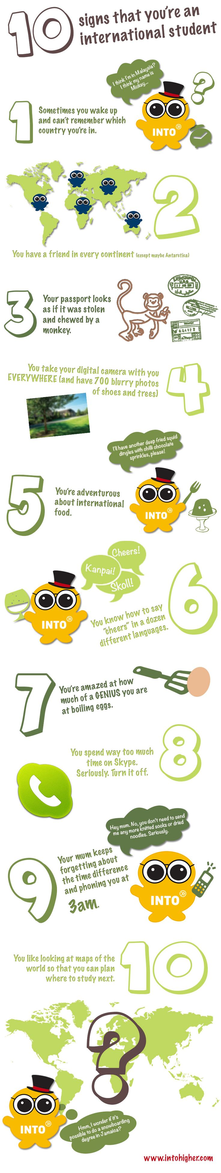 10 signs that you're an international student. #infographic #studyabroad