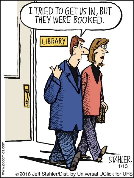 jokes puns humor library cartoons jeff confused grammar funny librarian books stahler moderately reading comic libraries cartoon literary medicine memes