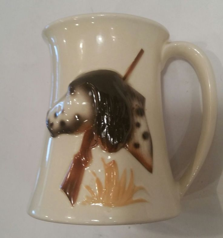 Hunters Coffee Mug Hunting Bird Dog Rifle Gun English Springer Spaniel Vintage #Unknown