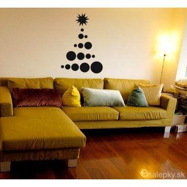 Vianočné nálepky na stenu - Guličkový stromček