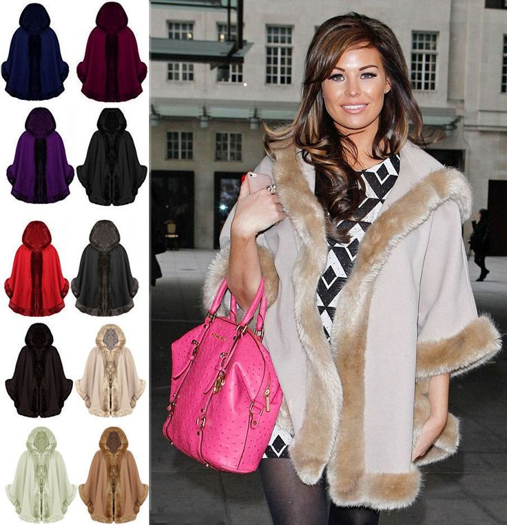 Womens Ladies Poncho Wrap New Faux Fur Trim Shawl Warm Coat Cape Jacket 8-16 UK