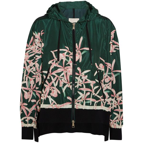 Moncler Comte hooded floral-print shell jacket ($1,140) ❤ liked on Polyvore featuring outerwear, jackets, green hooded jacket, moncler, green zipper jacket, multi coloured jacket and green jacket