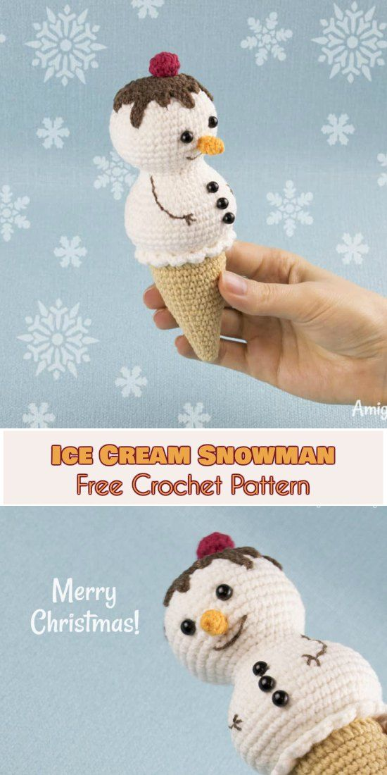 Ice Cream Snowman with Chocolate Topping [Free Crochet Pattern]