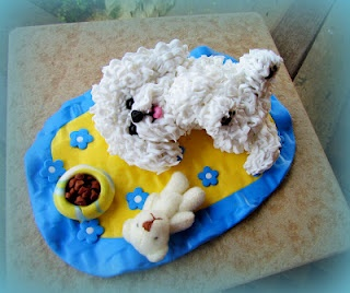 polymer clay Bolognese doggy