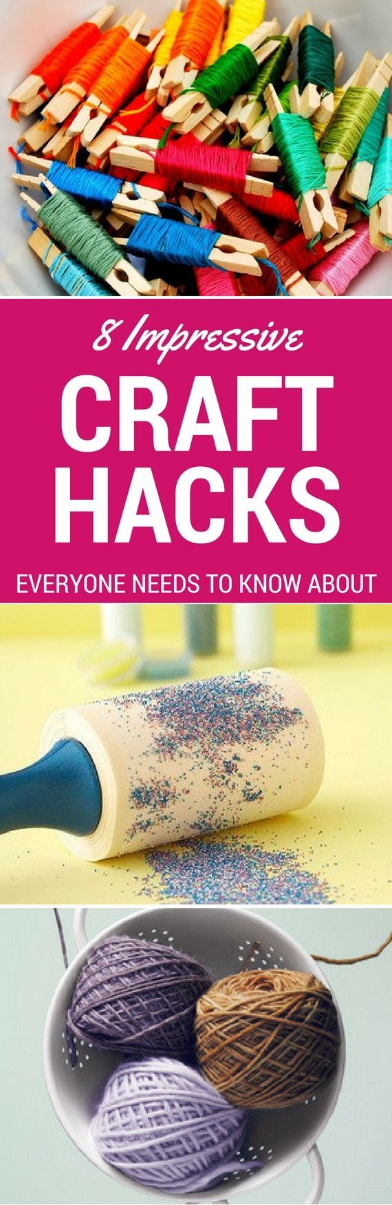 8 Creative Craft Hacks For DIY Projects - Struggle no more with these awesome craft hacks to solve all your problems. These diy craft hacks will show you storage options for embroidery thread, a yarn dispenser, how to clean up glitter and so much more!