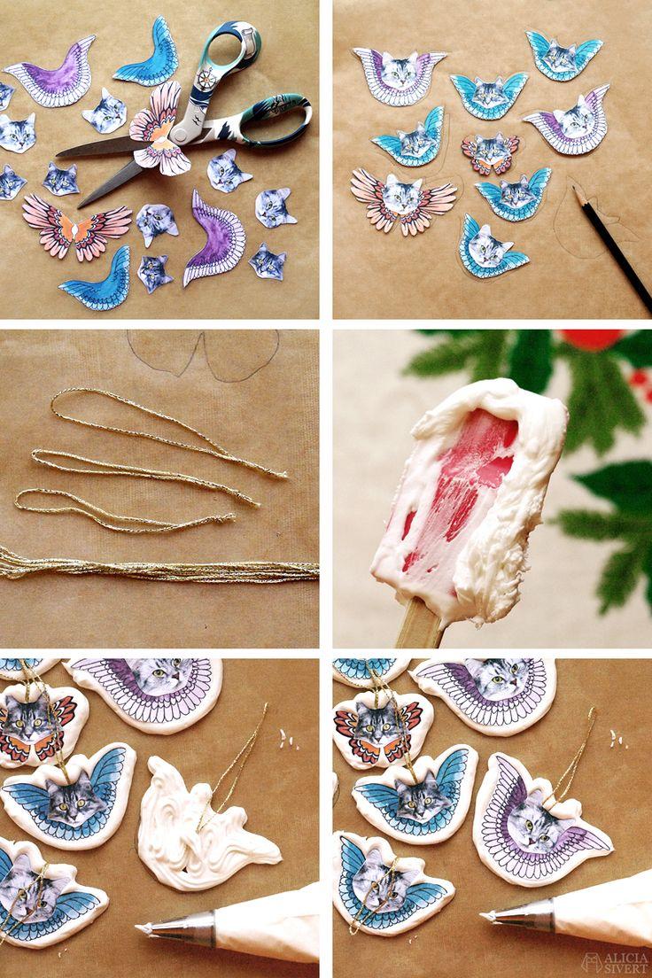 Kristyrkatter till julgranen. Instruktioner och nedladdningsbara vingar av Alicia Sivertsson för Monthly Makers Julkalender.