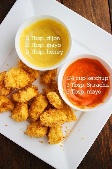 Crispy Baked Chicken Nuggets – Easy, super crispy, and freezer friendly, these nuggets (with dipping sauces) taste 10x better than store bought! | thecomfortofcooking.com