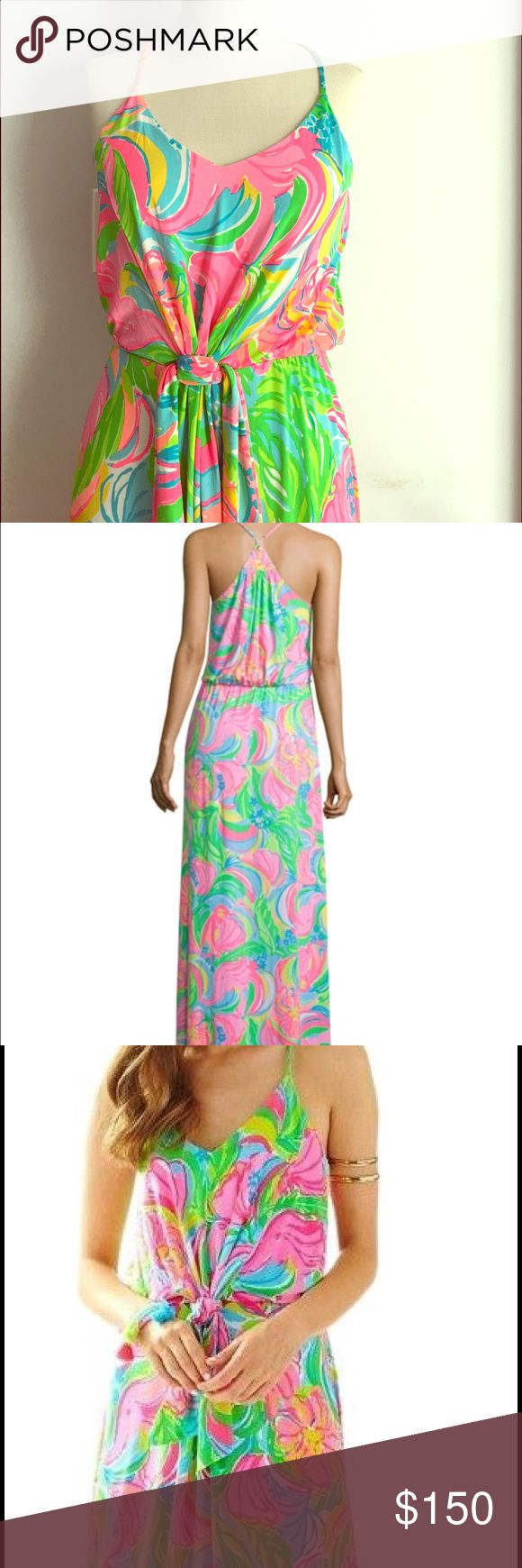Lilly Pulitzer Rosa Maxi Dress The Rosa Maxi Dress is a printed strappy maxi dress with a faux tie waistline. This gorgeous maxi has a racer back and v-neckline. Wear this dress to a wedding or a date night. Lilly Pulitzer Dresses Maxi