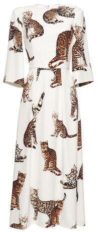 Bengal Cat Print Dress - White