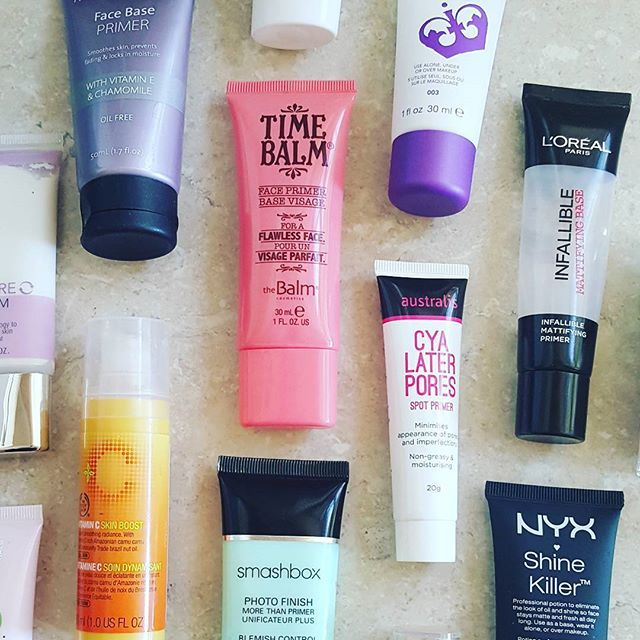 Too many primers... #oilyskinproblems. Read 10 Things You'll Only Understand if You Have Oily Skin on The Closet!