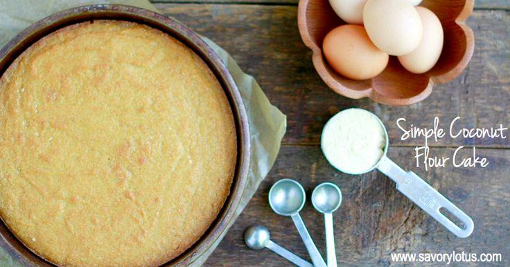 Simple Coconut Flour Cake (gluten free, grain free, nut free, paleo) |  savorylotus.com