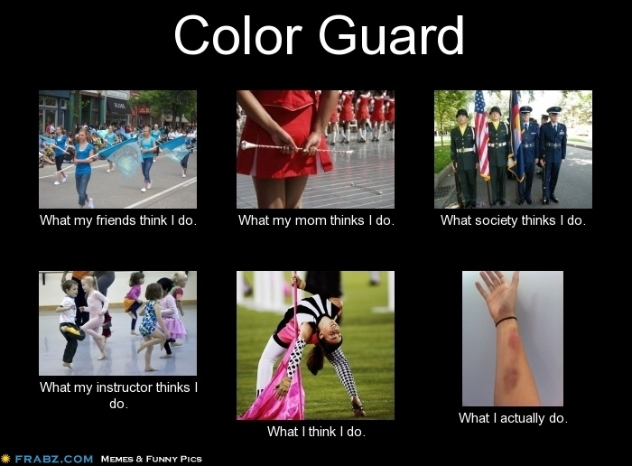 way to true. after color guard practice. Bruises. Bruises everywhere.
