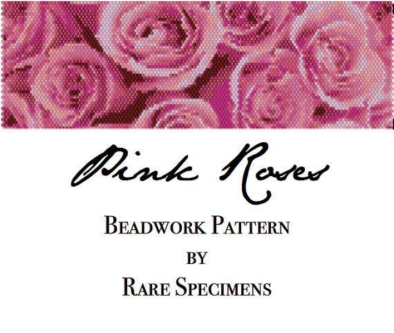 Pink Roses Peyote Stitch Bracelet Pattern  by RareSpecimens