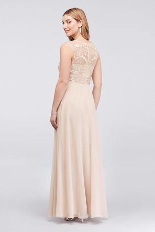 beaded chiffon sheath dress with illusion mesh david s bridal