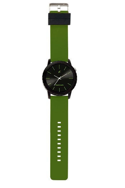 Part of Tees' first colours collection, this large oversized watch pairs a black case and dial with military green straps and hands. The loops are in black to further enhance the look of the watch.