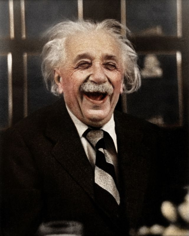 Iconic Black and White Photographs, Colorized  Ruth Orkin: Albert Einstein At a Princeton University Luncheon in 1953