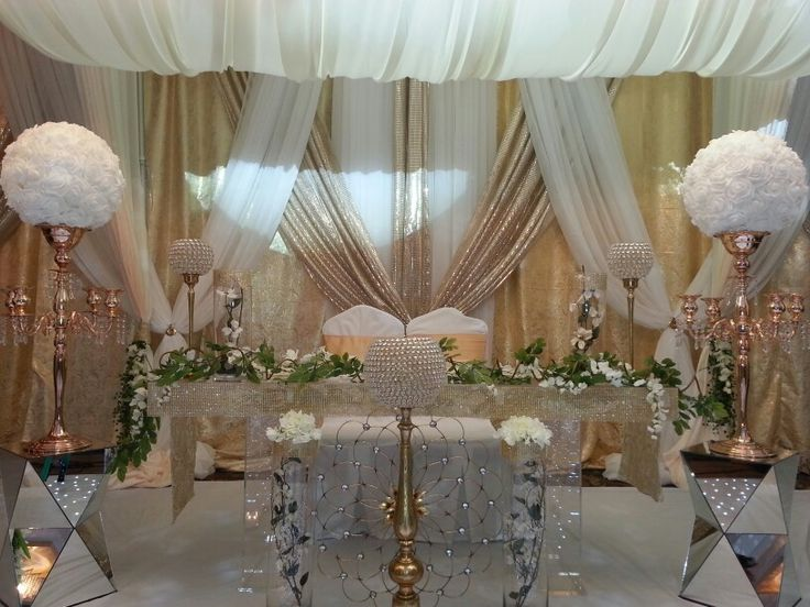 Gold cream reception decor