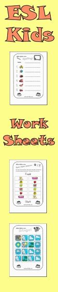ESL-Kids.com - ESL stuff for kids including flashcards, worksheets, classroom games and children's song lyrics. A great resource for teachers of ESL kids