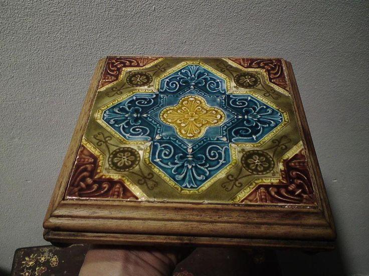 Victorian ceramic tile teapot trivet - wooden frame four raised brass ball feet