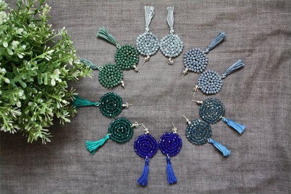 Dalia earrings, handmade embroided tassel earrings ThatsMineBijoux