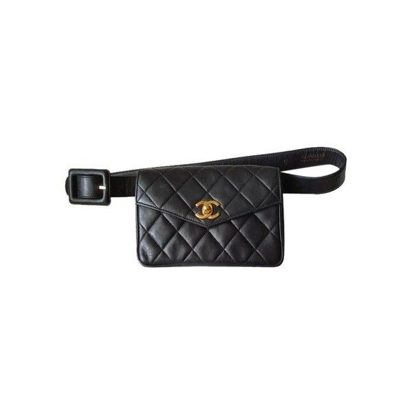 Chanel Waist Pouch/ Clutch Black Travel Bag (£795) ❤ liked on Polyvore featuring bags, waist bag, leather fanny pack, leather bum bag, pouch bag and leather pouch