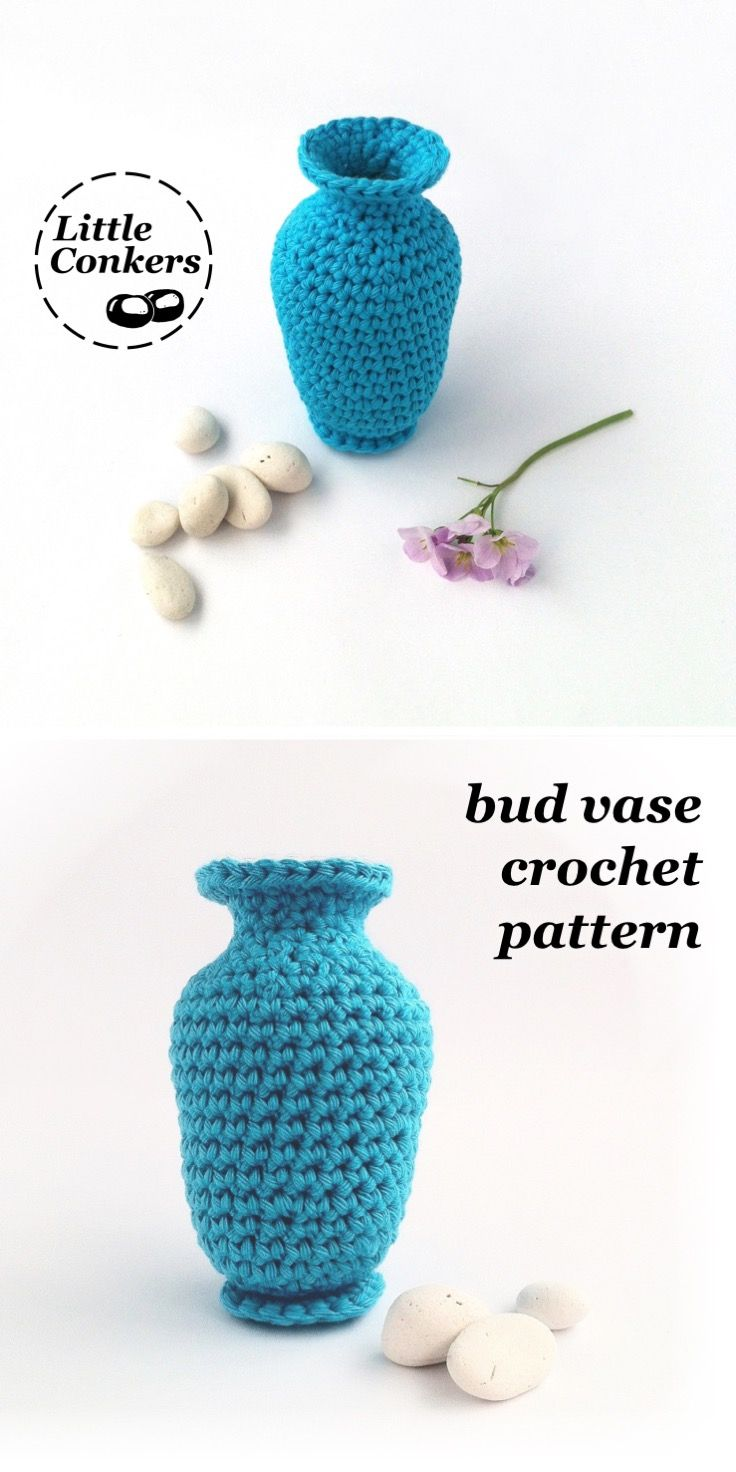 Use my crochet pattern to make this cute bud vase in the colours of your choice. Perfect for wedding tables too.