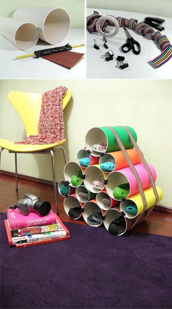 Zapatero hecho con tubos de PVC y forrados con papeles de colores, de Muyingenioso.com
