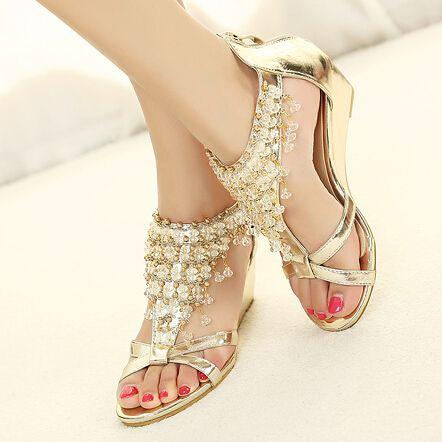 Sapatas das mulheres strass frisado Bohemian sapatos sandálias gladiador verão mulher cunhas praia sandálias das senhoras chinelos em Sandálias de Sapatos no AliExpress.com | Alibaba Group
