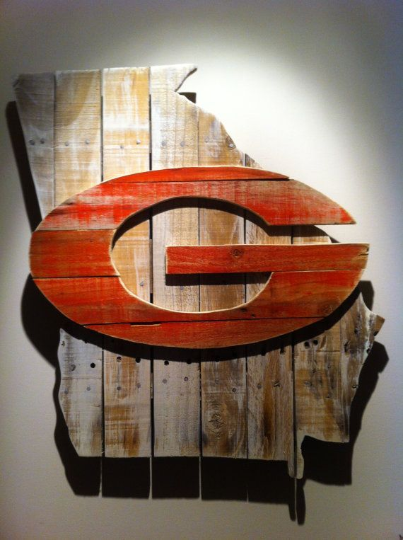 Uga Man Cave Signs : Wooden state of georgia with uga logo on etsy