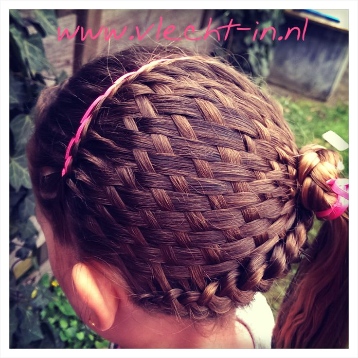 Basket weave braid in combination with two Dutch braids and a ribbon