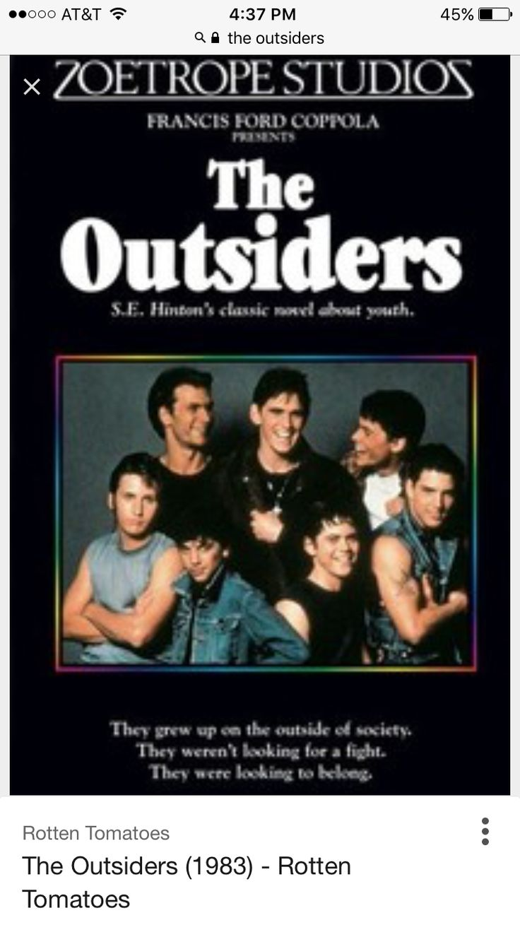 the outsiders from books to movies Free essay: the book and the movie of the outsiders are two very different stories the book has so much more detail then the movie the movie is not the.