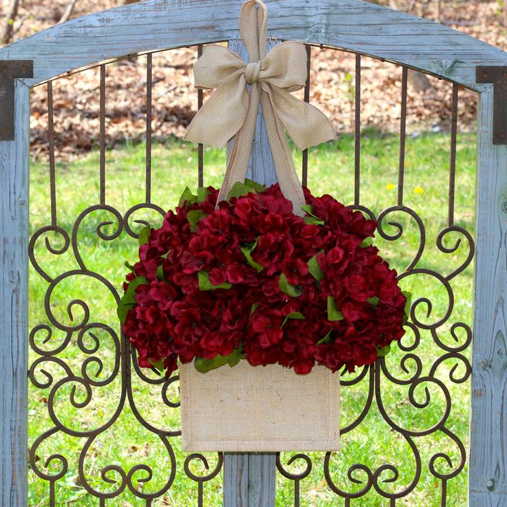 Burgundy Fall Wreath - Hydrangea Wreath - Wreath Alternative - Door Decor