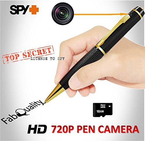 FabQuality Hidden Camera Pen Gold Spy Pen Camera TRUE VIDEO RESOLUTION 1280 x 720P HD + FREE 16GB MICRO Card + BONUS 5 INK FILLS Included, HD Video Camera & Image Recording – Record in 1280×720 HD