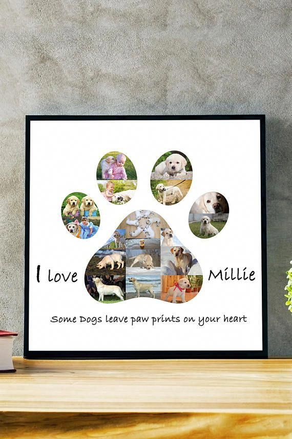 Dog Paw Print Word Art Birthday Christmas Remembrance Memorial Gift Keepsake