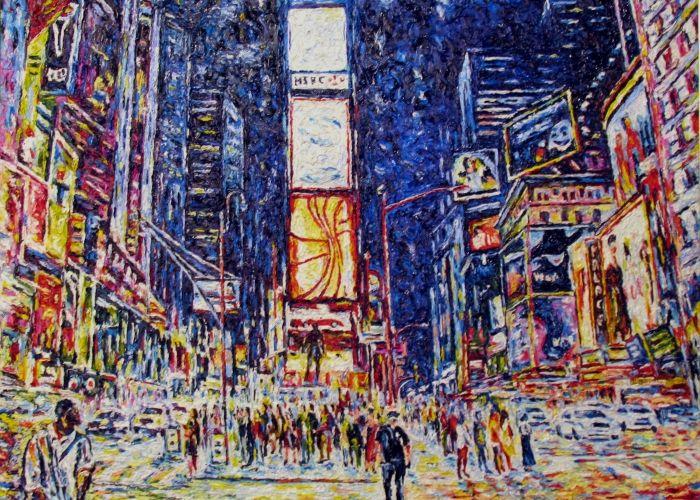 "Maurizio Carpanelli :: Web Art Gallery   ""New York: Time Square"" #oliosutela  #notte"