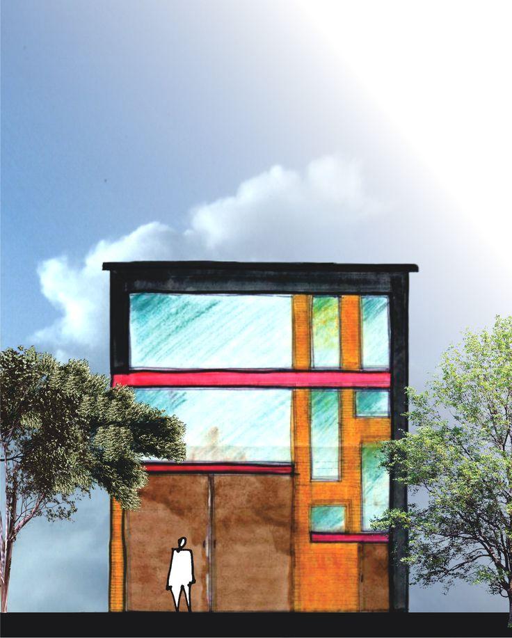 Esquema de Fachada -Edificio Comercial y Bodegas en el barrio Primavera - Envigado -Antioquia