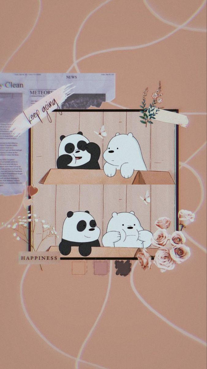 خلفيات باندا الدببة الثلاثة Kartu Lucu Ilustrasi Karakter Boneka Hewan