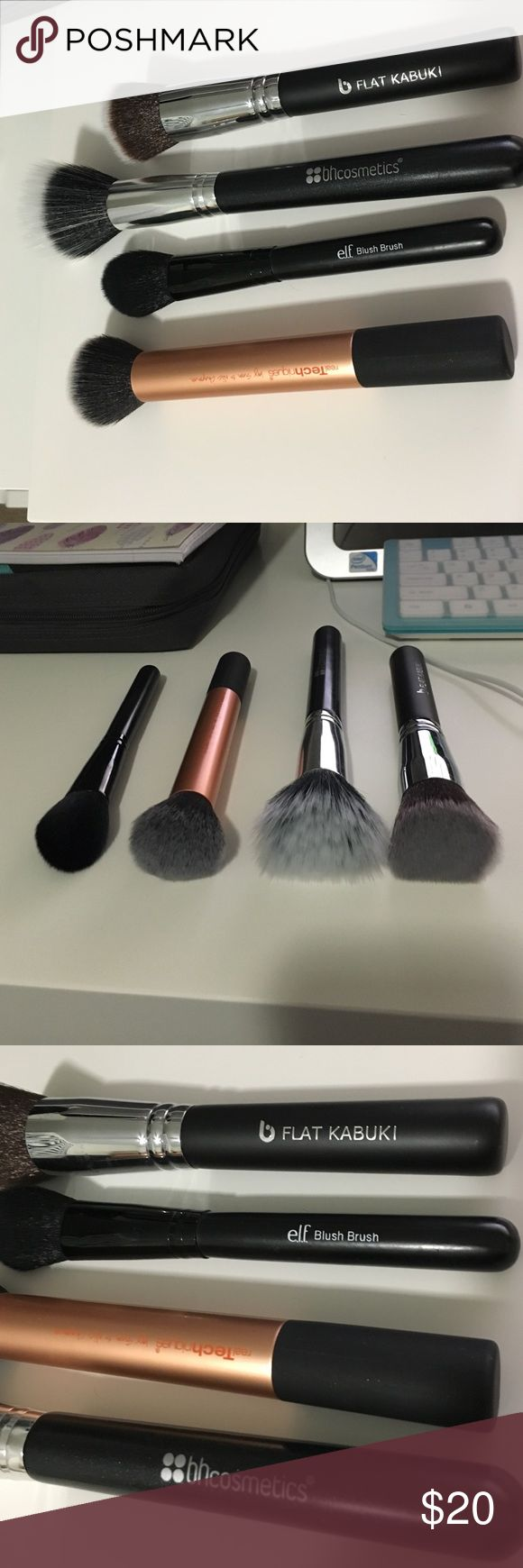 Makeup brushes Makeup brushes! All are brand new, never used, and have been cleaned (dawn and hot water). Real techniques buffing brush, bh cosmetics duo fiber brush (great for blending out blush and bronzer), elf  blush brush (I have a few of these, use it to set my under eyes) and B flat kabuki brush (great for bronzers) Real techniques Makeup Brushes & Tools