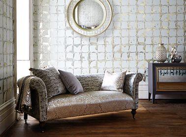 papier peint blanc et argent | salon : Papier peint motif carré argentés brillants sur fond blanc ...