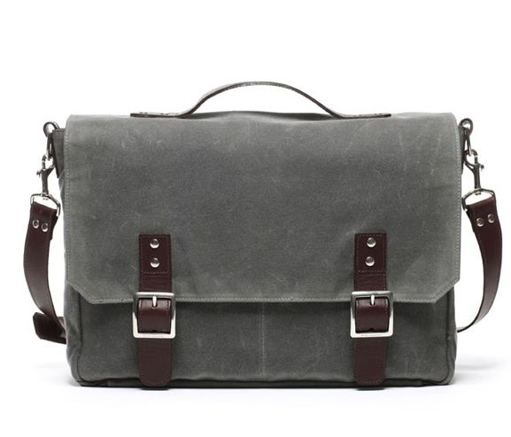 ERNEST ALEXANDER - Crosby waxed cotton messenger bag. Made in New York, USA.