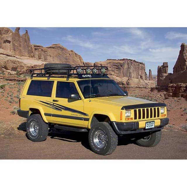 Gobi Jeep Cherokee XJ Ranger Tire Carrier Roof Rack	1984-2001 Jeep Cherokee XJ	   FREE LADDER, FREE WIND DEFLECTOR, & FREE SHIPPING!Order this Gobi rack and receive a FREE LADDER, FREE WIND DEFLECTOR, and FREE SHIPPING! 	Gobi USA offers a line of high quality roof racks, ladders and accessories for your Jeep Cherokee XJ. Gobi racks and accessories are proudly made in the USA.	Gobi leaves no stone unturned when developing accessories which blend effortlessly with Jeep Cherokee XJ's an...