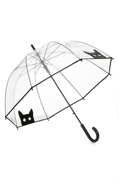 "Free shipping and returns on Topshop Cat Umbrella (Brit Pop-In) at Nordstrom.com. <p><B STYLE=""COLOR:#990000"">Pre-order this style today! Add to Shopping Bag to view approximate ship date. You'll be charged only when your item ships.</b></p><br>Get ready for rain right about meow with this clear dome umbrella printed with peekaboo cats."