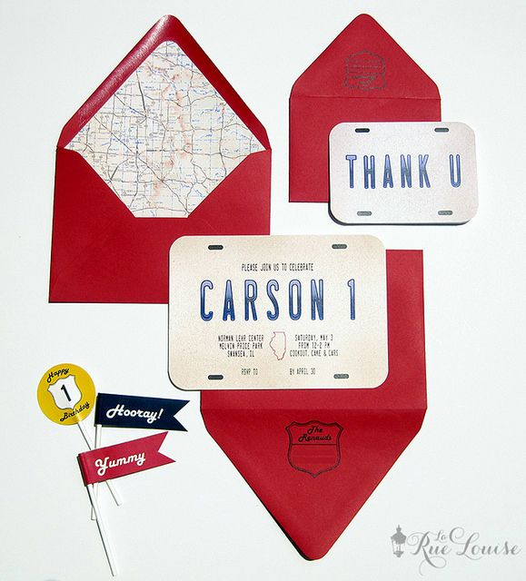 La Rue Louise: A Vintage Car/Travel Party: Carson's First Birthday Invitations + Accessories
