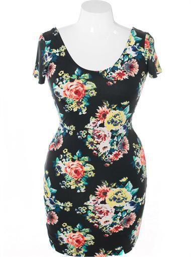 Plus Size Floral Bodycon Dress, Plus Size Clothing, Club Wear, Dresses, Tops, Sexy Trendy Plus Size Women Clothes