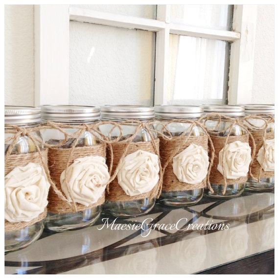 Set of 8 RUSTIC WEDDING Centerpieces Jute Wrapped Quart Mason Jars with Rosette and Jute Bow