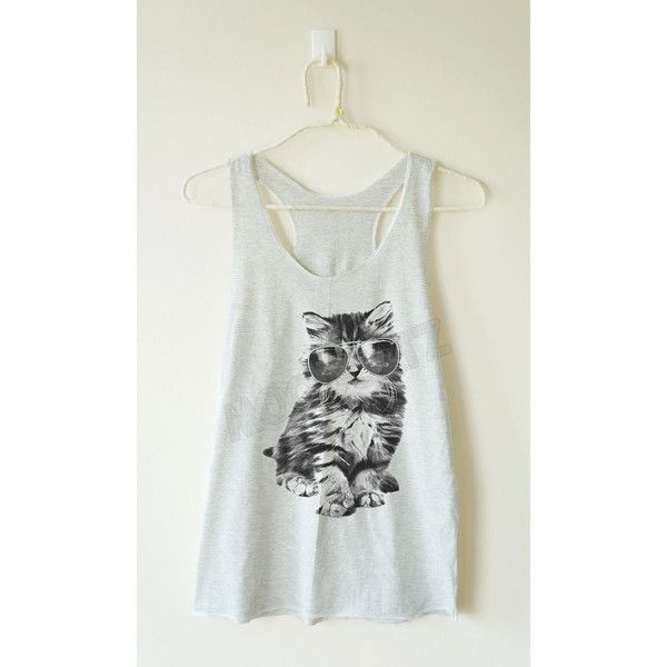 Glasses Cat Shirt Galaxy Shirt Meow Top Funny Top Animal Top Summer... ($14) ❤ liked on Polyvore