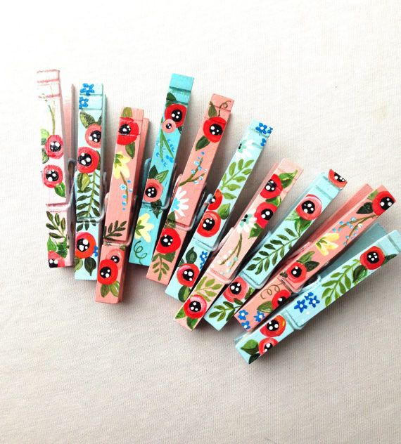 10 FLOWER CLOTHESPINS magnets hand painted pink and blue baby